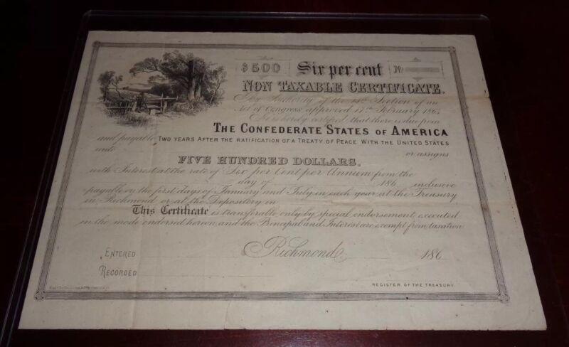 Confederate States of America $500 Non Taxable Certificate Unused VGC
