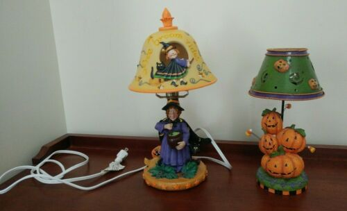 Lot of 2 halloween lamps 1 candle votive holder