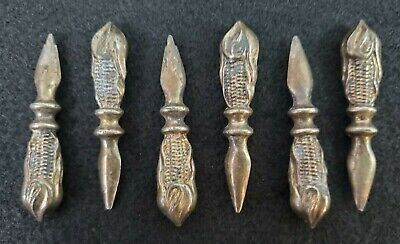 VINTAGE 6 Silverplate Silver Figural Corn on the Cob Holders