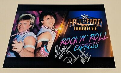 ROCK 'N' AND ROLL EXPRESS Robert Gibson Ricky Morton 2017 Hall of Fame auto