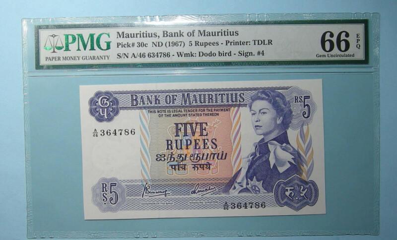 1967 MAURITIUS 5 RUPEE P20c PMG 66EPQ INV#PM110-5