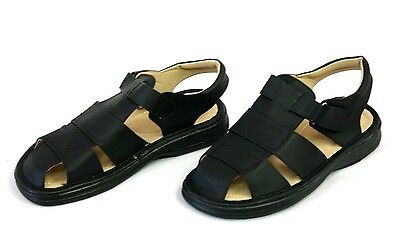 Closed Toe Fisherman Sandal - NEW MENS LEATHER STRAP FISHERMAN COMFORT SANDALS CLOSED TOE BLACK COLOR  M1407
