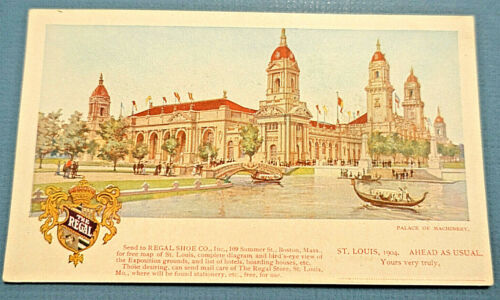 1904 St Louis Worlds Fair Palace of Machinery Regal Shoe UNPOSTED ADVERTISNG PMC