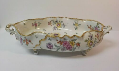 """Stunning Germany Porcelain 17"""" Hand Painted Centerpiece Bowl, c. 1900"""