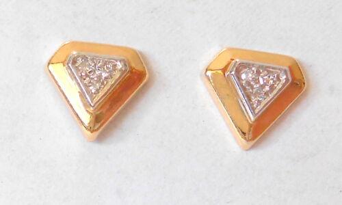 Triangle Diamond Shape 14K Yellow & White Gold w/ Diamonds Post Earrings 13mm