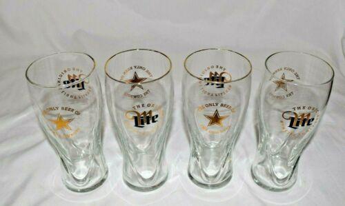Miller Lite Beer Glasses Dallas Cowboys Star Set of 4 Pilsner 16 oz