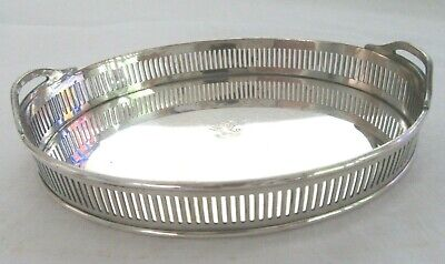 Rare Miniature Silverplate Business Card Gallery Tray Holder Vintage Bowl