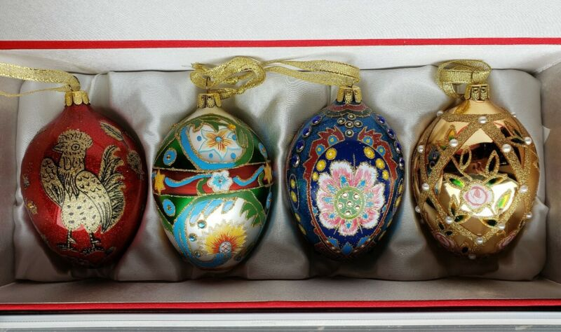 Set of 4 JOAN RIVERS Glass EGG Ornaments 2009 MINT Faberge Egg with Silk Case