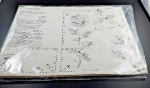 """Bucilla Needlework Kit # 8582, """"3 Piece Set"""", stamped cross stitch on linen"""