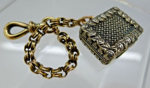 English Birmingham Sterling Silver & 9ct Gold Vinaigrette J.Wilmore 1832 CHAIN