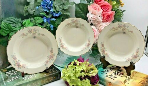 WS George Lido Pink/Blue Flowers Grey Leaves 3 Cereal/Soup Bowls