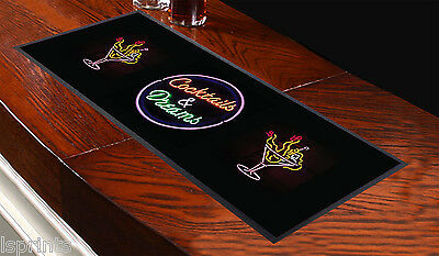 Cocktails & Dreams Design Bar Towel Runner Pub Mat Beer Cocktail Party...
