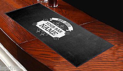 Personalised Chalk Board Vintage Frame Bar Towel Runner Pub Mat Beer Cocktail