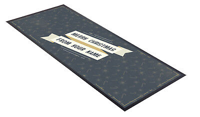Personalized Christmas Candy Bars (Personalised Christmas Bar Towel Runner Pub Party Mat Beer Party Grey Candy)