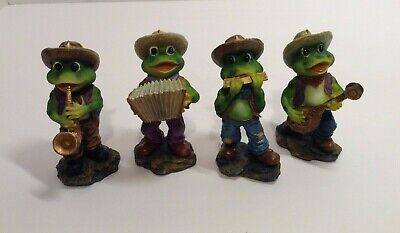 Set of 4 Frog Band Each Playing Stylish Instruments Made of Resin