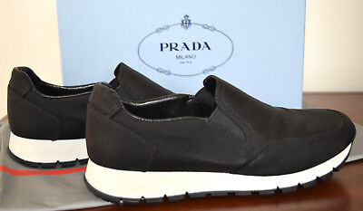 Prada Sport Black Canvas Pull On Sneakers Gripped Rubber Soles Size (Prada Rubber Sole Sneakers)
