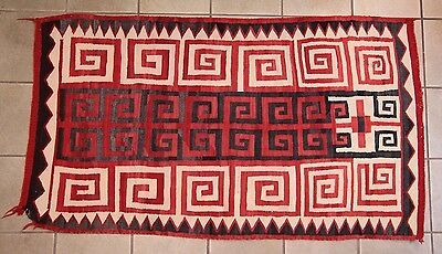 "Antique Early 1900s Native American Navajo Rug 64"" x 37"""