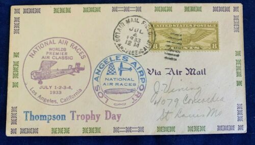 THOMPSON TROPHY DAY NATIONAL AIR RACES COVER Los Angeles Airport, July 4,1933