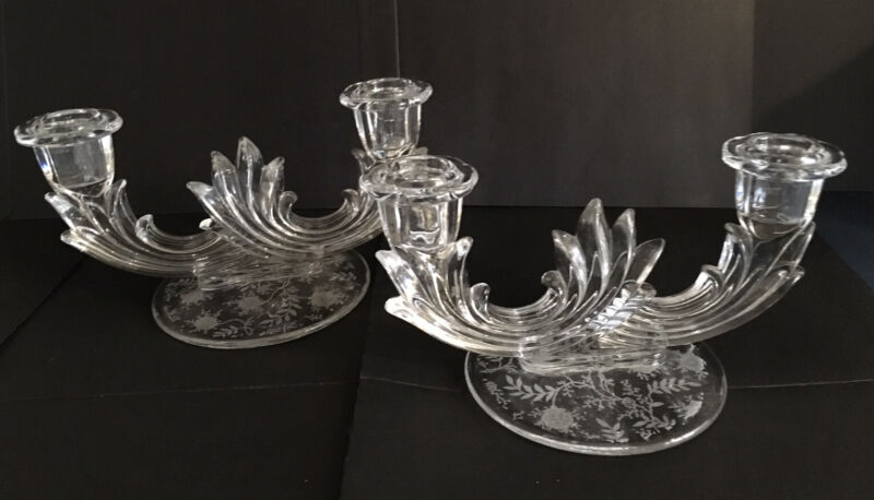"""Pair Of Vintage Fostoria """"Chintz"""" Etched Glass Double Candleholders"""