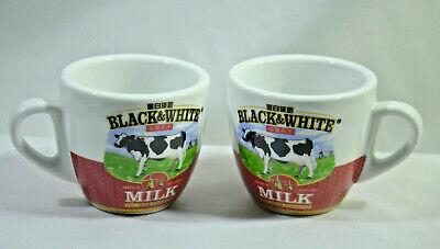 2pc Hong Kong Cup Mug Ceramic Black White Friesian Cow Condensed Milk Tea -