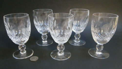 "SET 5 Vintage WATERFORD Cut Crystal ""COLLEEN"" 4.75"" Claret Wine Glasses Goblets"