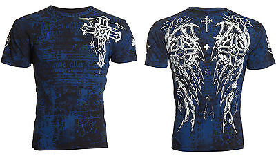 Archaic Affliction Men S/S T-Shirt SPIKE WINGS Tattoo BLACK BLUE Biker S-3XL $40