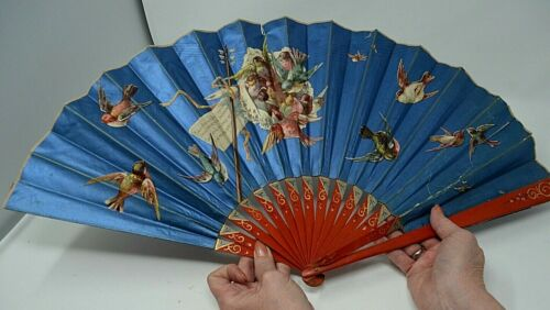 "Antique Chinese 2-Sided Folding Hand Fan 13"""" Royal Blue & Turquoise Poem Birds"