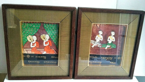 Temple Painting Illustrations Buddhist Praying Monks Buddhism