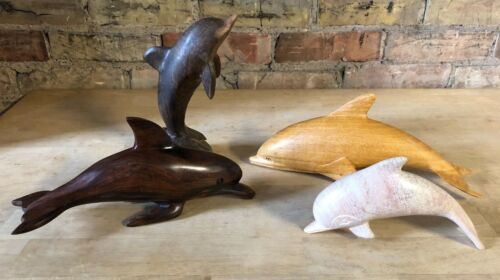 Lot of 4 Hand Carved Dolphin Porpoise Figures Sculptures - Iron Wood, Stone