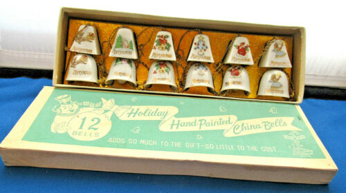 12 Holiday Bells  Hand Painted China Bells w/ Original Box Japan