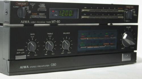 Super Rare AIWA C80 Stereo Preamplifier & MT-80 Audio Program Timer in BLACK!