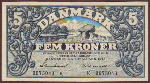 DENMARK  5 Kroner  1943    Prefix K