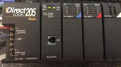 Automation Direct Logic Koyo Plc D2-04b D2-230 D2-08nd3 D2-08tr Rack Chasis