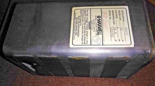 "8XX91 MAXWELL 30437 CAPACITOR: 6000VAC, 38.8MF, 8"" X 4-1/2"" X 3-3/4"", VERIFIED"