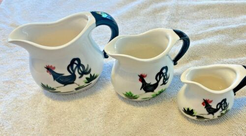 Roosters Pitcher Creamer set vintage collection set of 3