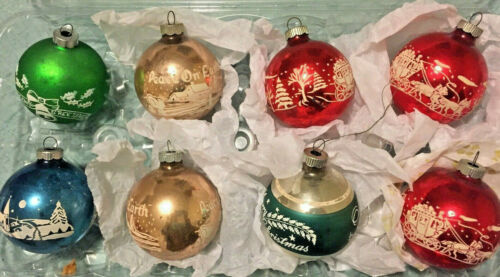 8 Vintage Shiny Brite Stenciled Ornaments,3 Red,2 Gold,2 Green,1Turqouise, 2 1/2