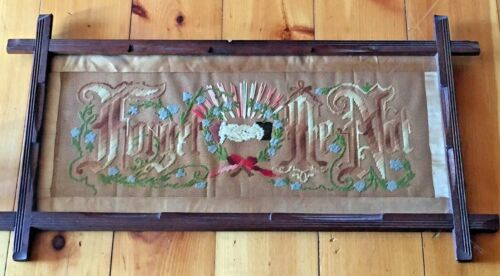 Antique Victorian Punched Paper Sampler Motto Forget Me Not w/ Clasped Hands