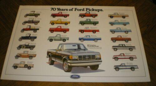 "Vintage ""70 Years of Ford Pickups"" Poster 36"" x 24"" Unused, 1917-1987"