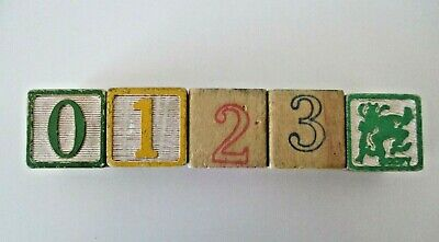5 Wooden ABC/123 Building Blocks Goofy Stacking  Alphabet Numbers Counting  Vtg