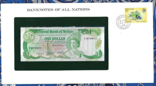 Banknotes of All Nations Belize 1 dollar 1983 UNC P-43 Prefix A/6
