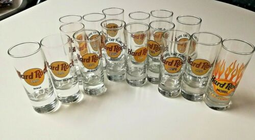16 Hard Rock Cafe Shot Glasses Various Locations Around The World Rare Uncommon