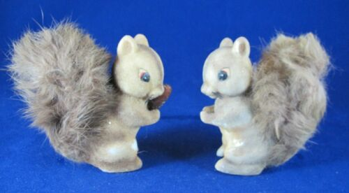 Vintage Flocked Celluloid Real Fur Squirrels- Made in Japan