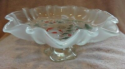 Glass Mikasa Serving Dish Frosted Footed Compote Holiday Girl & Christmas Tree