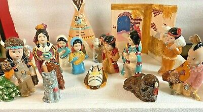 PROVINCIAL CERAMIC BISQUE HAND PAINTED NATIVE AMERICAN NATIVITY 19 PIECES