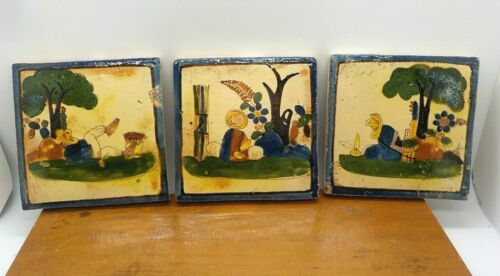 Lot of 3 Vtg  Mexican Mexico Scenery Laborer Pottery Scenic Tiles Donkey 4 x 4