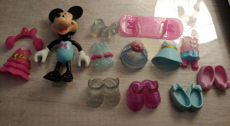 Minnie Mouse Doll clip on accessories clothes dress up Disney snowboard