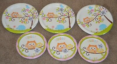 Lot Happi Tree Baby Shower Sweet Owl Paper Plates Lunch Girl Party Pink - Owl Paper Plates
