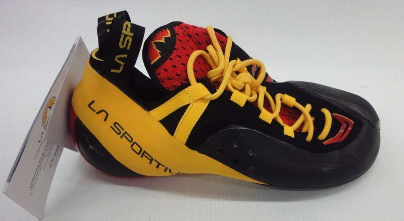 La Sportiva Mens Genius Rock Climbing Shoes 10R Red (w Yellow/Black) 41.5 US 8.5