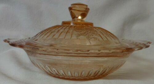 Mayfair Pink Butter and Lid Hocking Glass Company