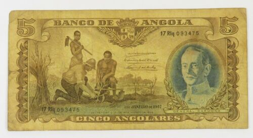 1947 Angola 5 Angolar Banknote Carmona Item #21926F